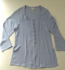 AZUR LONDON Light blue 100% silk top with round neck, long sleeves