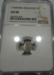 *** NGC *** Great Britain *** 1 penny 1660-85 *** AU-58 *** k5