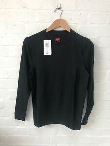 Canterbury Rugby Men's Thermoreg Long Sleeve Baselayer Shirt - Black - New