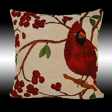 RARE FRENCH RED BIRDS CHERRY TAPESTRY DECO CUSHION COVER THROW PILLOW CASE 17""