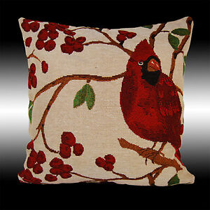 """RARE FRENCH RED BIRDS CHERRY TAPESTRY DECO CUSHION COVER THROW PILLOW CASE 17"""""""