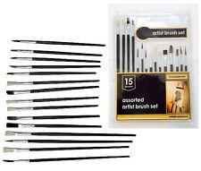 NUOVO 15pc assortiti artista pennello Set Legno maniglia piatta e Punta Disegno Art