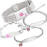 Lymphedema NO BP Right or Left Medical Alert ID Stainless Open Heart Bracelet