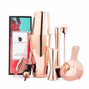 Boston Cocktail Shaker Set Bartender Kit Rose Gold Bar Set 9 Pcs Barware Gift...