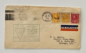 1928 Slogan Cancel 1c pair +3c Kingston/Toronto to Chicago