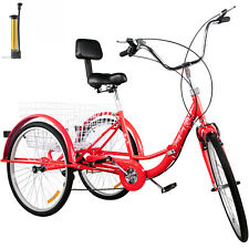 Foldable Tricycle Folding Adult Tricycle 24'' 7 Speed 3 Wheel Red Bikes w/Basket