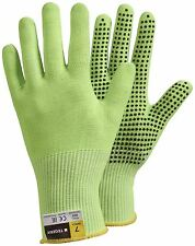 Size 9 L Pair TEGERA 907 Hi Viz Cut Proof 5 PVC Dot Grip Palm Safety Work Gloves