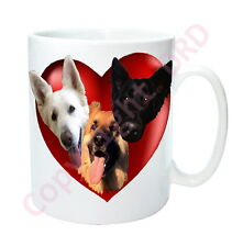 German Shepherd Gift Mug Heart + 3 Alsation Dogs Birthday Gift GSD Mug Dog Mug