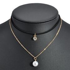 Women Fashion Velvet Gold Plated Chain Choker Pearl Rhinestone Pendant Necklace
