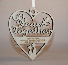 PERSONALISED 60 YEARS DIAMOND WEDDING PLAQUE - ENGRAVED WITH YOUR OWN WORDING