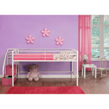 DHP Junior Twin Loft Bed with Storage Steps Pink and White Bunk Kids Metal Girls