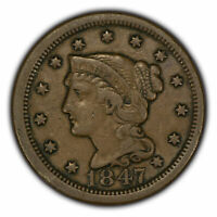 1847 1c Braided Hair Large Cent - VF Details - SKU-Y2780