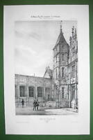 FRANCE Rouen Bourgtheroulde Mansion - SUPERB Litho Antique Print