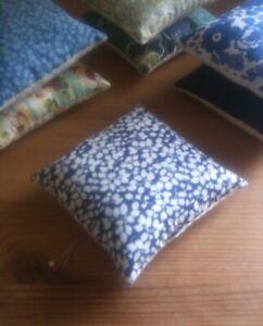 Pin cushion handmade with Liberty fabric Glenjade,
