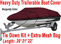 Crownline 225 BR Boat Trailerable Cover All Weather HD maroon color