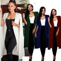 Fashion Women Long Coat Cloak Cape Blazer Suit Jacket Trench Poncho Outwear Slim