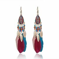 2020 Bohemia Boho Beads True Feather Hook Drop Dangle Earrings Womens Jewellery
