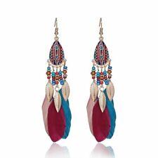 2020 Bohemia Boho Beads True Feather Hook Drop Dangle Earrings Womens Jewellery