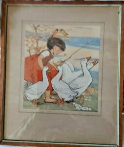 """MURIEL DAWSON EARLY COLOURED PRINT  """"The Goose Girl"""""""