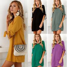 Womens Half Sleeve Tunic Shift Dress Summer Casual Blouse T Shirt Mini Dresses