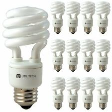 Utilitech 15W CFL Spiral Light Bulb E26 Medium Base Cool White 950lm 12 Pack