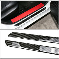 4x Black Carbon Fiber Car Scuff Plate Door Sill Cover Panel Step Protector Guard