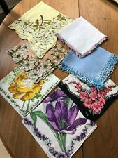 Five Floral and Two Crocheted Trim Handkerchiefs Assorted Sizes (7)