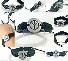 Black Leather bracelet PEACE symbol genuine leather adjustable mens womens cuff