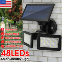 48LED Solar Power Dual Head Flood Light Motion Sensor Outdoor Wall Light Garden