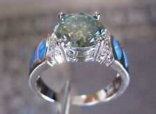 Green Opals,Certificate Size 6,8,10,Sparkles 2.55ct Green Moissanite Ring w/Blue