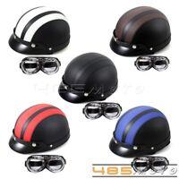 Novelty Helmet Open Face Retro Motorcycle Half Helmet Sun Visor Goggles Glasses