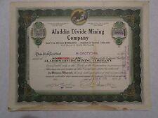 Aladdin Divide Mining Company 1919 Nevada Corporation