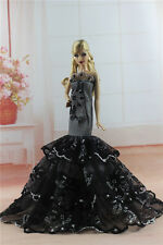 Black Royalty Mermaid Dress Party Dress/Wedding Clothes/Gown For Barbie Doll H01
