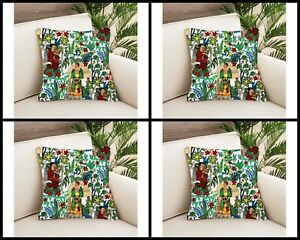White Frida Khalo Indian 18x18 Cushion Covers Home Sofa Decorative Covers 4 PC's