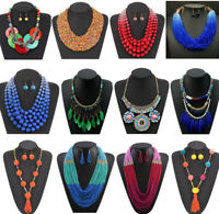 Women Boho Acrylic Necklace Jewelry Choker Bib Statement Pendant Chunky Jewelry