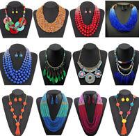 Women Boho Acrylic Necklace Jewelry Choker Bib Statement Pendant Chunky Jewelry