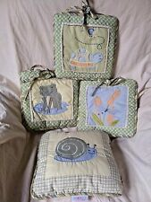 Geenny Baby Nursery Wall Hangings Pillow Green Yellow Frog Turtle Snail Crib