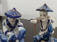 2 VINTAGE ASIAN MALE FIGURINES - BLUE AND WHITE WITH GOLD TRIM