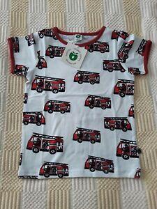 NEW Smafolk T Shirt Years 5-6 Size 110-116 cm. Firetrucks White