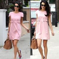 Women O-Neck Short Sleeve Solid Casual Slim Fit Mini A-Line Dress LM