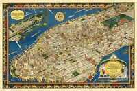 1920s Pictorial New York City Map of Manhattan - 24x36