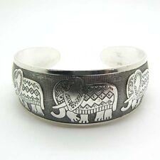 Beauty Elephant Tibetan Tibet Silver Totem Bangle Cuff Bracelet GiftEVC