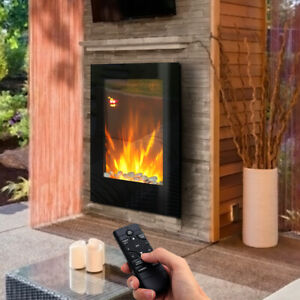 Wall Mounted/Insert Electric Fire Fireplace LED Heating Modern Warmer Remote