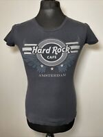 Hard Rock Cafe Amsterdam Grey Silver Glitter Logo T Shirt Tee Women's S Small