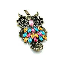 "Crystal Owl Necklace Antiqued Brass Steampunk Retro Vintage 28"""