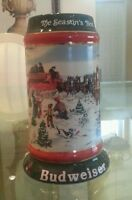 Vintage CHRISTMAS Budweiser Beer Stein 1991 Clydesdales Ceramic Mug Seasons Best