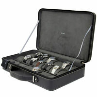 TS6300BK Watch Case Leather Black Briefcase Design For 21 Watches