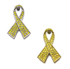 CRYSTAL YELLOW RIBBON BOW BONE CANCER SUPPORT OUR TROOPS AWARENESS BROOCH PIN