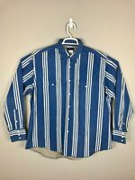 Vintage Retro Wrangler Pearl Snap Denim Western Vertical Striped Men's Shirt XL