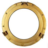 "17"" Large Brass Porthole Nautical Maritime Boat Ship Porthole Window Wall Mirror"